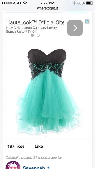 dress black lace turquoise dress