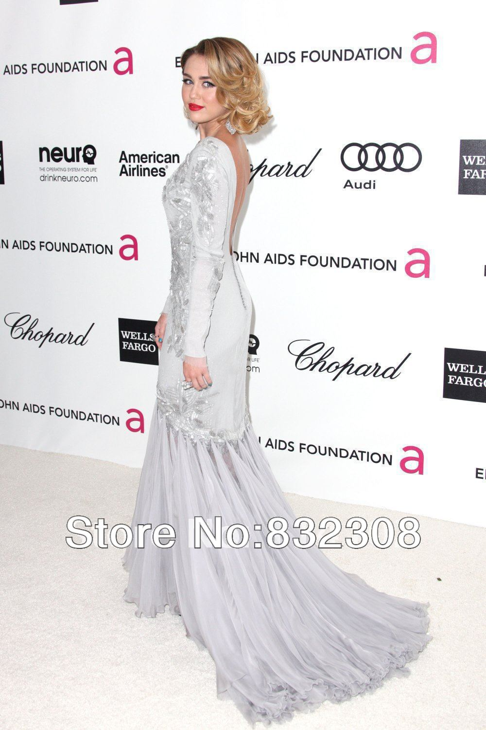 Miley Cyrus at the 20th Annual Elton John AIDS Foundation's Oscar Viewing Party Long Sleeve Celebrity Dress Evening Gown-in Celebrity-Inspired Dresses from Apparel & Accessories on Aliexpress.com