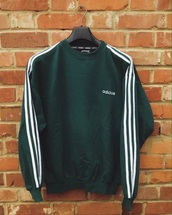 top,adidas,vintage,sweater,green,green sweater,green adidas,adidas sweater,adidas stripes,dark green