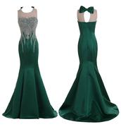 dress,tidetell,prom dress,long prom dress,beaded prom dress,hunter green,hunter,mermaid prom dress,prom dress with crystal