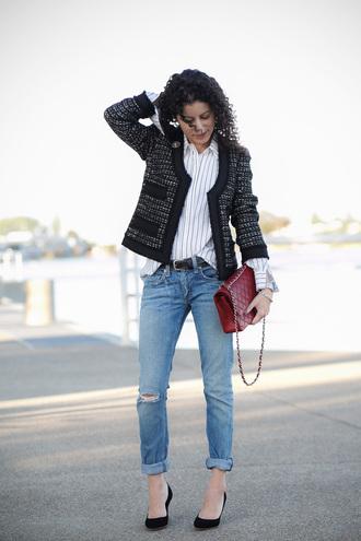 alterations needed blogger jacket shirt jeans shoes bag jewels belt