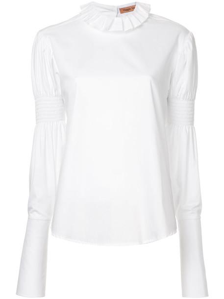 Maggie Marilyn - You Make Me Brave ruffle trim shirt - women - Cotton - 8, White, Cotton