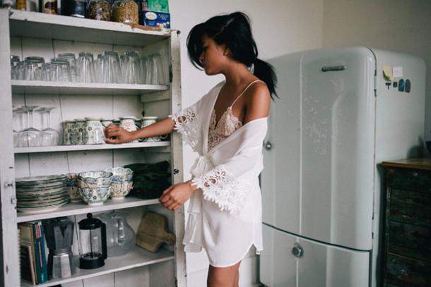 underwear robe white lace bra cute bralette