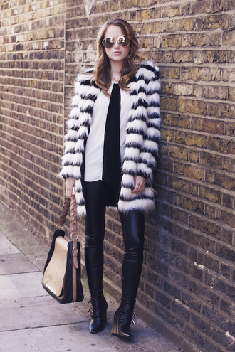 faux fur jewels bag sunglasses stripes leather pants blogger at fashion forte