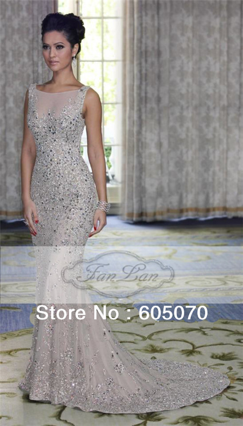 2013 New Design Cap Sleeve High Neck Heavy Beaded Silver Long Chiffon Mermaid Evening Dresses New Fashion -in Evening Dresses from Apparel & Accessories on Aliexpress.com
