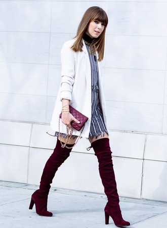 shoes tumblr velvet over the knee boots velvet velvet shoes velvet boots boots high heels boots over the knee boots dress grey dress mini dress stripes striped dress coat white coat bag red bag quilted bag