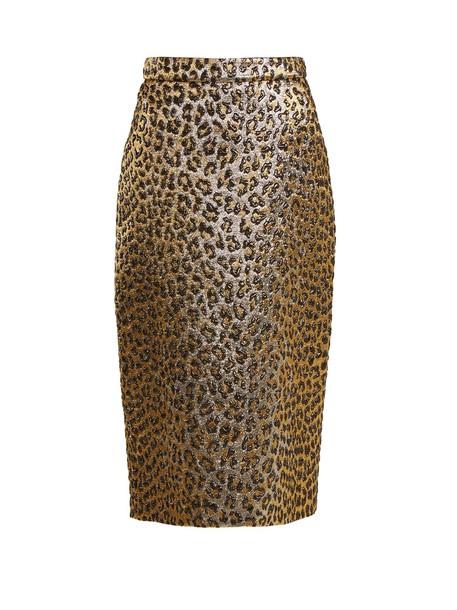 skirt pencil skirt jacquard print gold