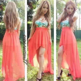 shirt pink high low skirt bralette crop tops dress necklace