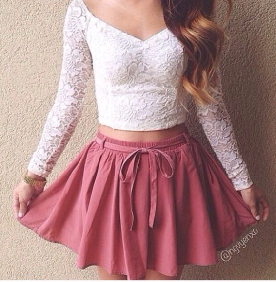 skirt red white long sleeve crop top lace