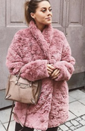 coat,faux fur jacket,pink,faux fur