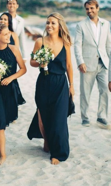 10cb99519d dress navy dress long bridesmaid dress spaghetti strap sexy v-neck dress  blue dress flowy