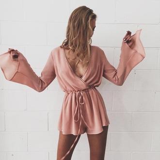 romper tassel pink dress long sleeves short pink romper long sleeve romper tumblr bell sleeves v neck plunge v neck jumpsuit pretty