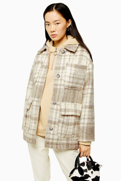 Cream Check Jacket With Wool - Cream