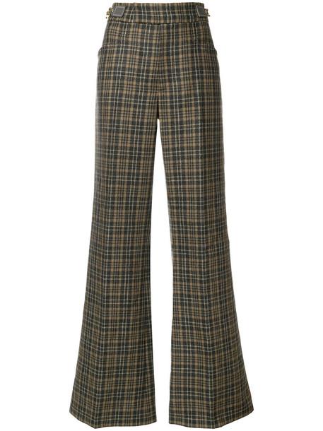women plaid cotton wool brown pants