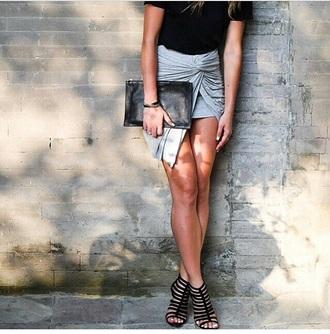 grey skirt style fashion trendy black shoes heels amazing grey skirt draped draped skirt leather clutch