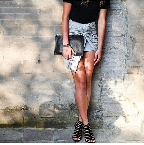amazing style fashion grey skirt trendy black blonde hair shoes heels