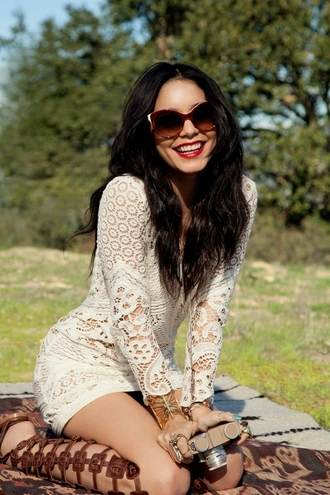 lace dress crochet dress gladiators spring dress boho dress boho white dress bodycon lace long sleeves short tight vanessa hudgens dress white lace festival boho chic shoes indie boho bodycon dress vanessa hugdens jewels sunglasses vanessa hudgens look
