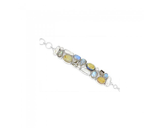 Awesome 925 sterling silver Rainbow Moonstone Biwa Pearl And Crystal Gemstone Cluster Bracelet