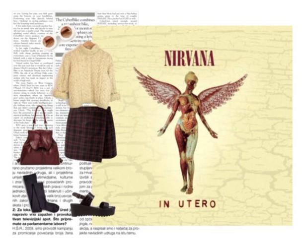 sweater nirvana grunge indie hipster plaid bohemian plaid skirt style sandals socks boho belt bag skirt