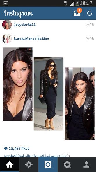 jacket kim kardashian leather jacket military style jacket celebrity style celebrity style steal