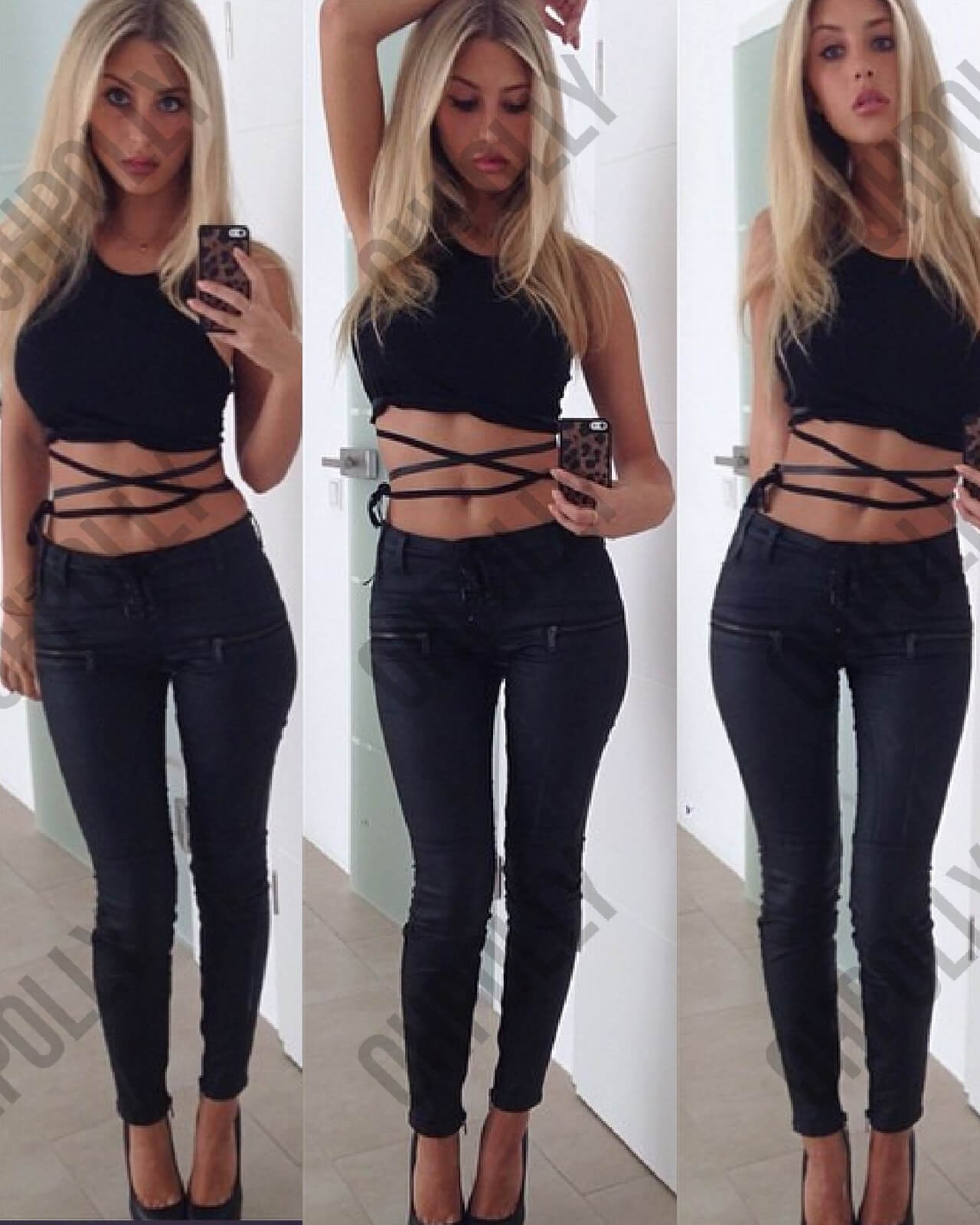 Two Crossed Tie Up Crop Top e226cf266