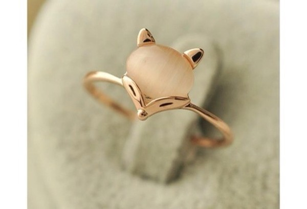 jewels cute fox fox gold ring