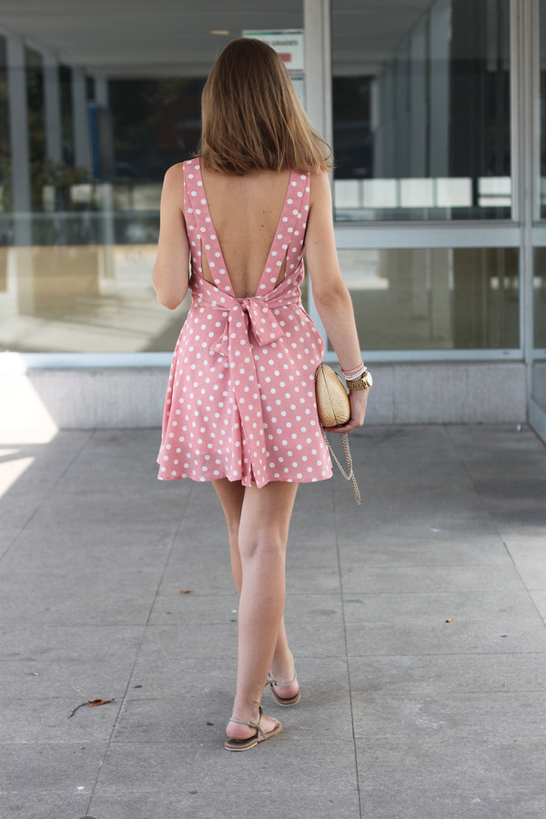 Backless Polka Dot Dress