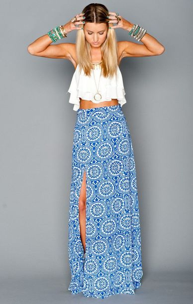 Dress: maxi skirt, crop tops, shirt, skirt, blue skirt, blonde ...