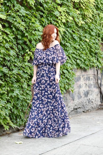 tf diaries blogger dress shoes bag off the shoulder dress maxi dress floral dress summer dress summer outfits