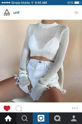 sweater top white top long sleeve crop top crop knit sweat rib long sleeves shorts
