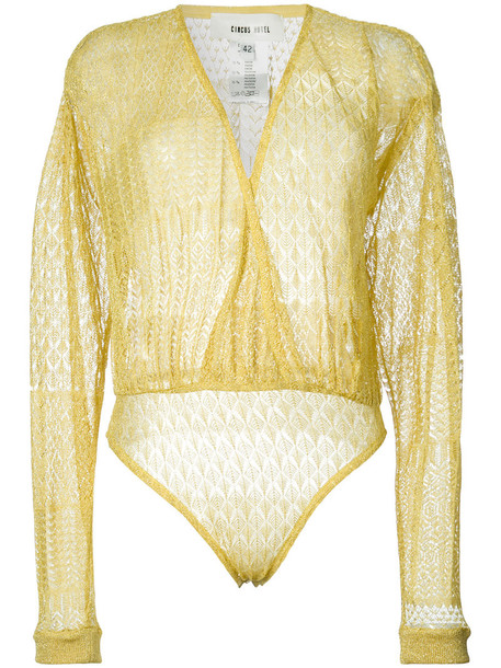 Circus Hotel - embroidered wrap body - women - Viscose/Polyester - 40, Yellow/Orange, Viscose/Polyester