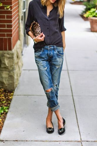 shoes charlotte olympia flats charlotte olympia black flats boyfriend jeans ripped jeans cut out jeans black shirt button down black shirt leopard print clutch