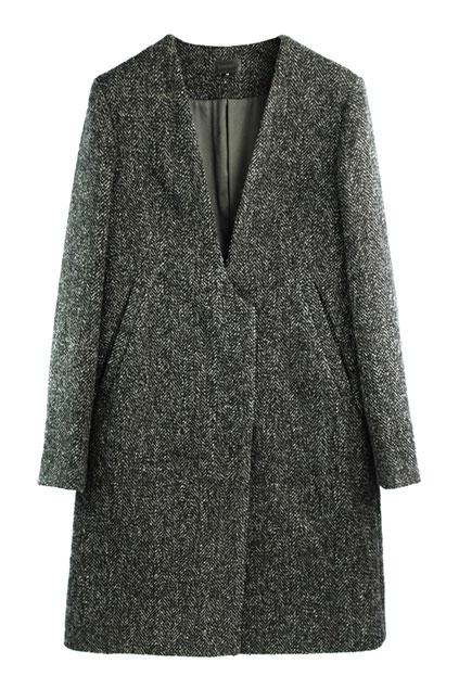 Slim Fit V-neck Studded Coat - OASAP.com