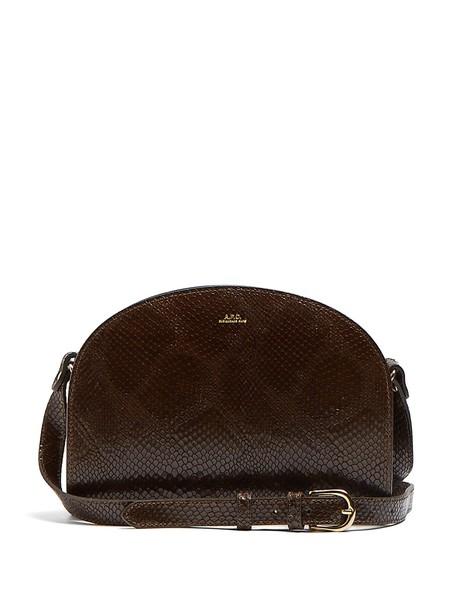 A.P.C. cross moon bag leather khaki