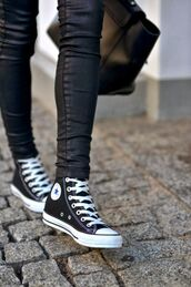 jeans,leather,black,tight,winter swag,high top converse,black bag,converse,black sneakers,leather pants,leggings,leather leggings,skinny jeans