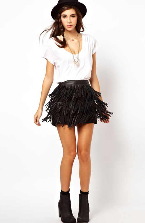 Faux Leather Fringe Tiered Skirt