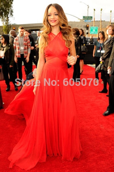 2014 vestidos de gala rihanna long red dress celebrity