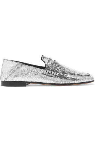 heel metallic loafers silver leather shoes