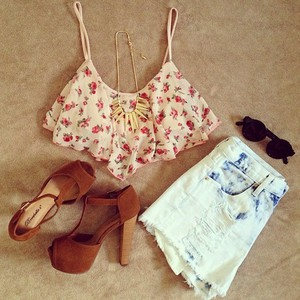 tank top rose print floral crop top floral print floral tank top shorts shoes