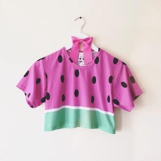watermelon print crop crop tops