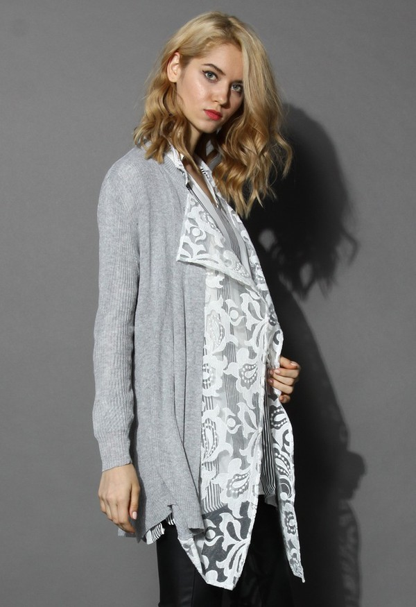 cardigan chicwish grey  cardigan embroidered mesh panel