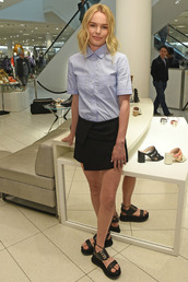 shoes,sandals,kate bosworth,skirt,shirt,blue shirt,black skirt,skorts,minimalist shoes
