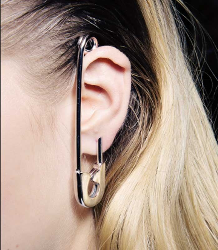Viktor & rolf silver safety pin earring