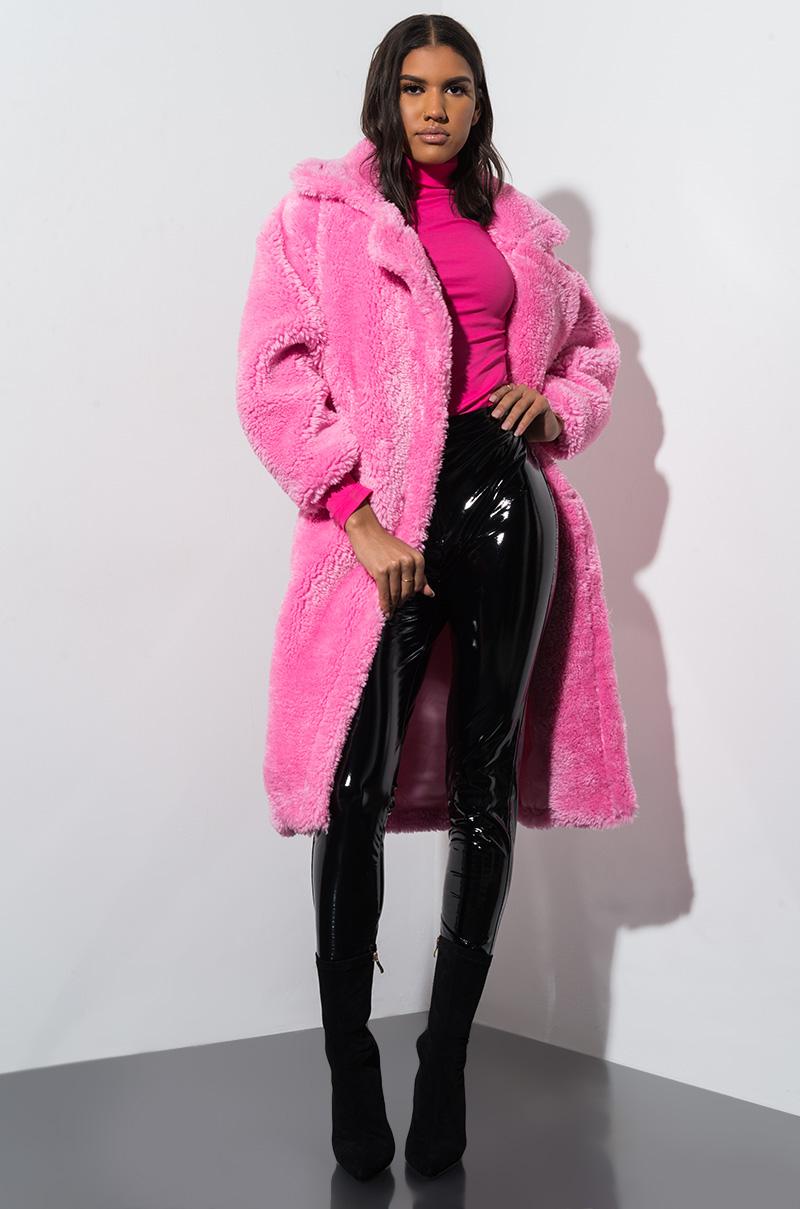 AKIRA Faux Fur Fuzzy Oversized Teddy Coat in Pink, Camel