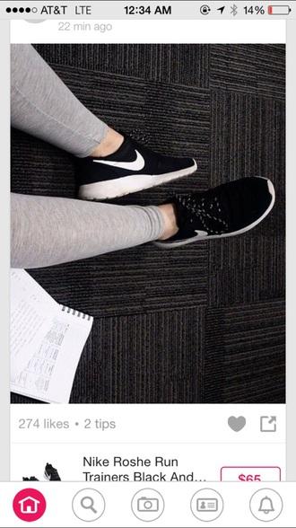 shoes black white sneakers nike trainer roshe runs tennis shoes running shoes nail polish