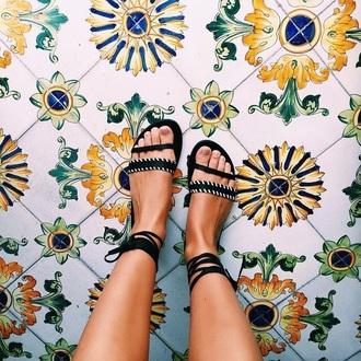 shoes black wrap sandals