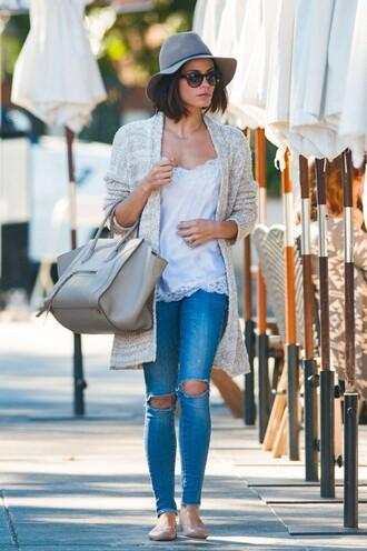 cardigan top blouse flats ballet flats jenna dewan jeans hat fall outfits