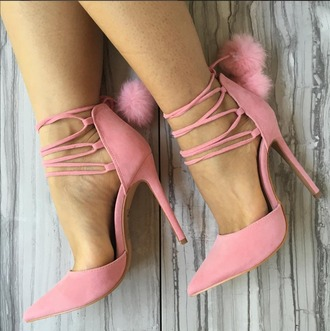 shoes pom pom shoes pointed toe faux fur pumps vegan suede pink pumps closed toe heels lace up heels blush pink