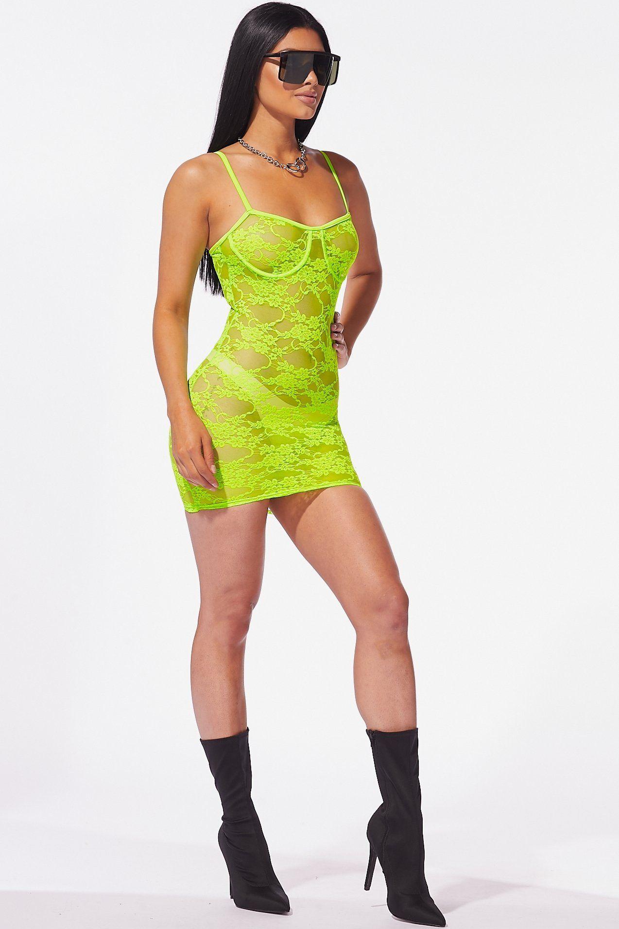 Lime Crime Neon Lace Mini Dress – Style Delivers