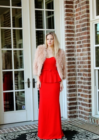 b soup blogger red dress faux fur jacket bustier dress dress jacket